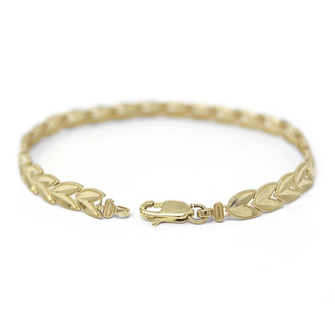 Solid Yellow Gold Chevron Leaf Link Sparkle Cut Women's Bracelet (6.07 mm)