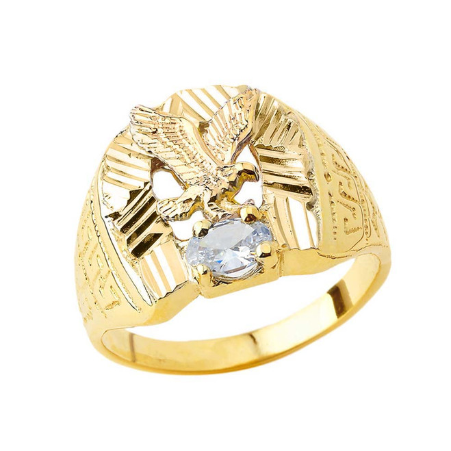 Soaring Eagle Lucky Horseshoe Statement Ring in Yellow Gold with CZ