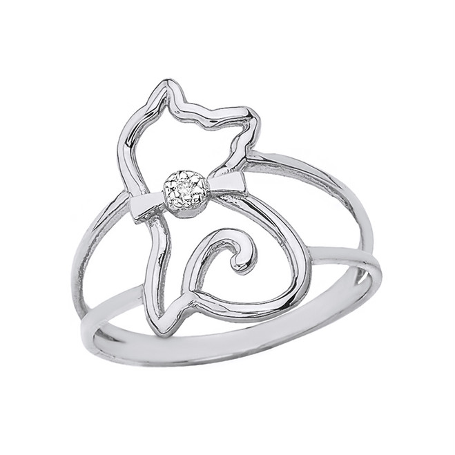 Sterling Silver Cat with Bow Tie Split Shank CZ Ring