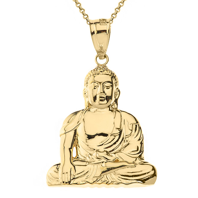 Solid Yellow Gold Zen Buddhist Meditation Buddha Pendant Necklace