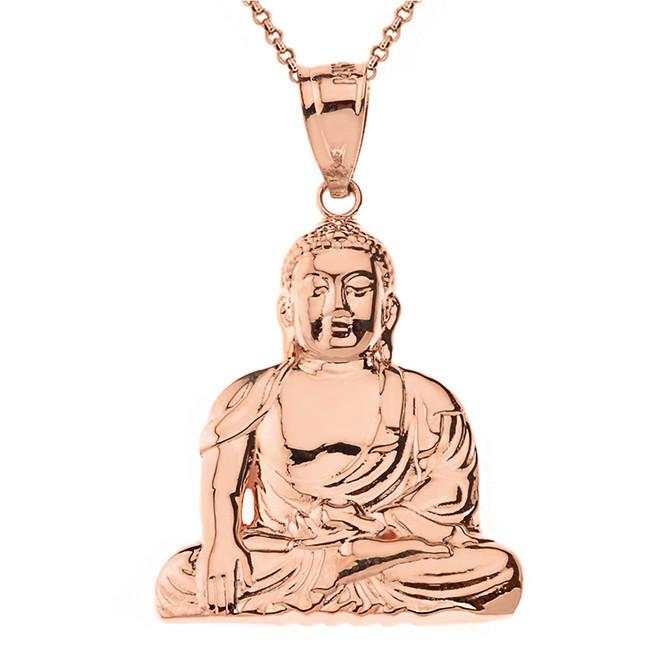 Solid Rose Gold Zen Buddhist Meditation Buddha Pendant Necklace