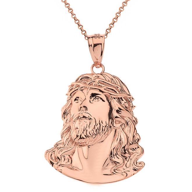 Solid Rose Gold Jesus Christ Head Pendant Necklace
