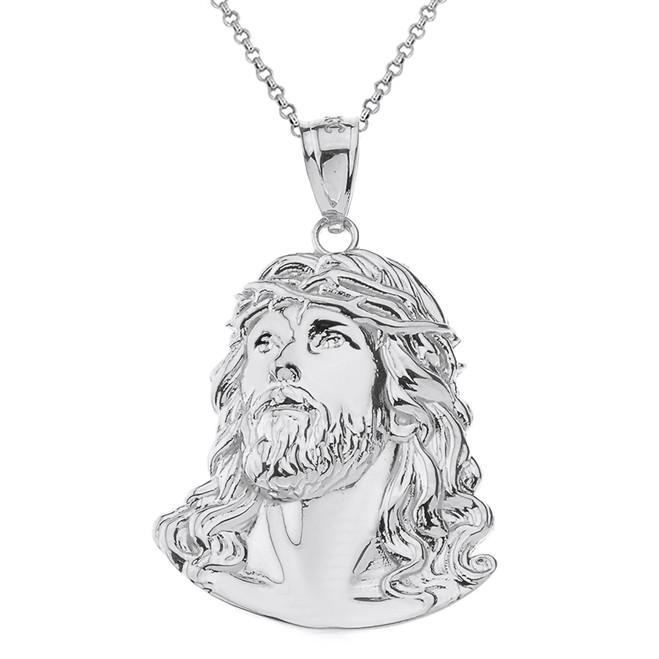 Solid White Gold Jesus Christ Head Pendant Necklace
