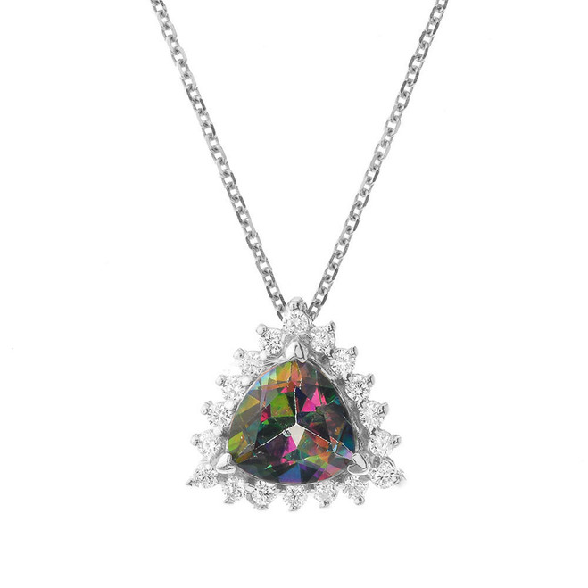 Chic Diamond & Trillion Cut Mystic Topaz Pendant Necklace  in 14 White Gold