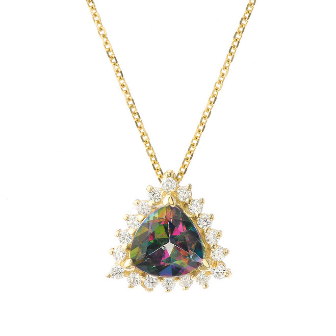 Chic CZ & Trillion Cut Mystic Topaz Pendant Necklace  in 14 Yellow Gold