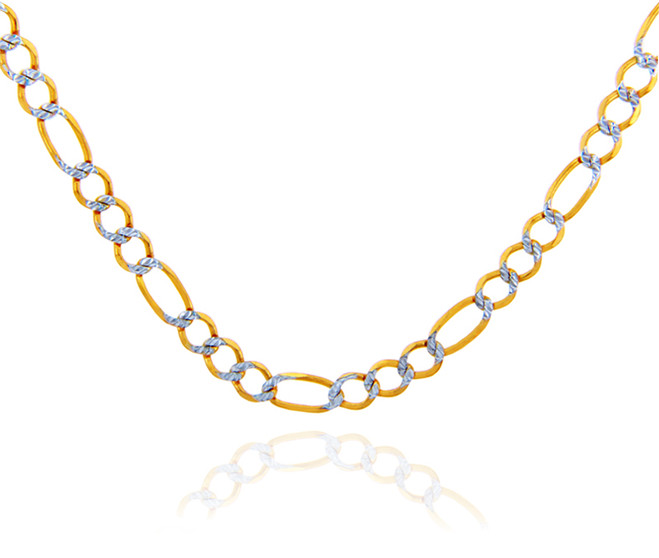 Gold Chains Figaro Pave Two-Tone 10K Gold Chain 2.2 mm