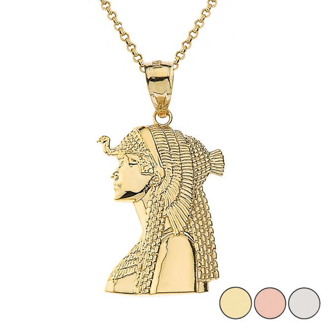 Cleopatra Egyptian Queen Pendant Necklace in Gold (Yellow/Rose/White)