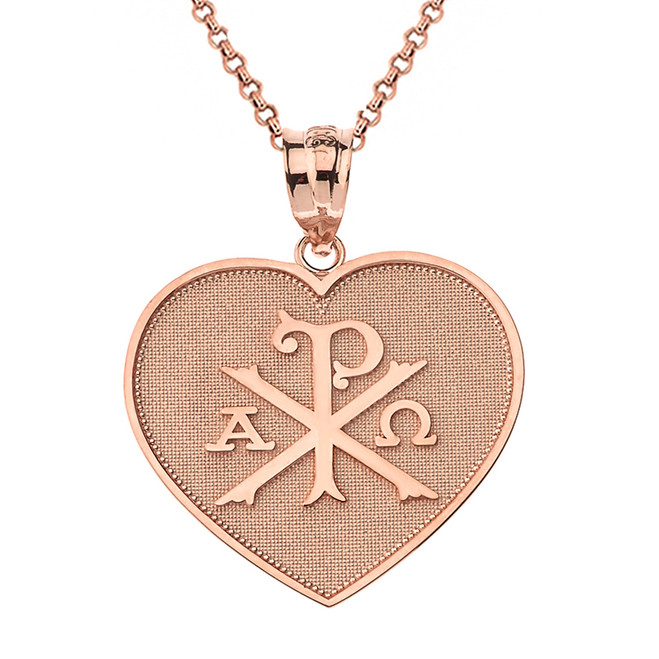 Solid Rose Gold Christian Symbol Chi Rho Heart Pendant Necklace