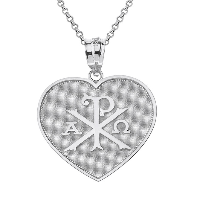Solid White Gold Christian Symbol Chi Rho Heart Pendant Necklace
