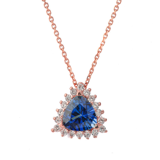 Chic Diamond & Trillion Cut Sapphire (LCS) Pendant Necklace  in 14K Rose Gold