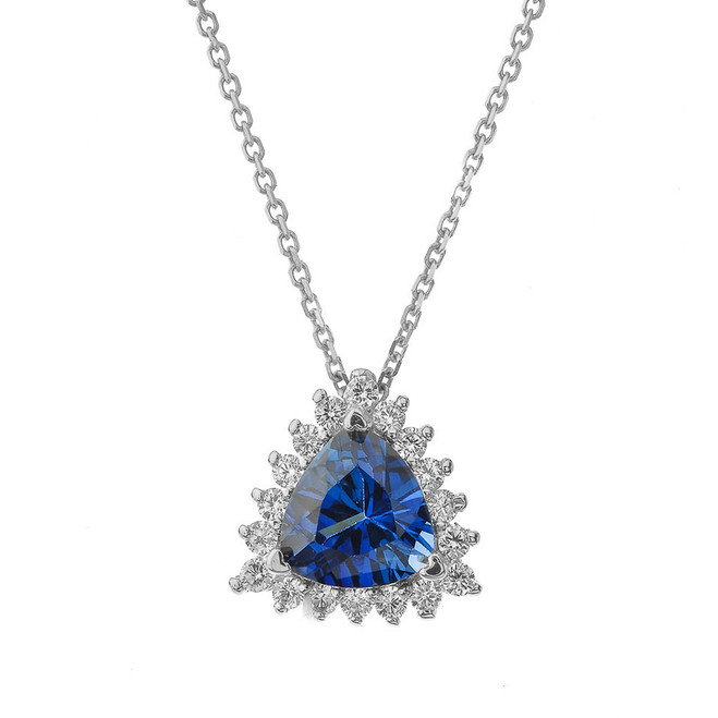 Chic Diamond & Trillion Cut Sapphire (LCS) Pendant Necklace  in 14K White Gold