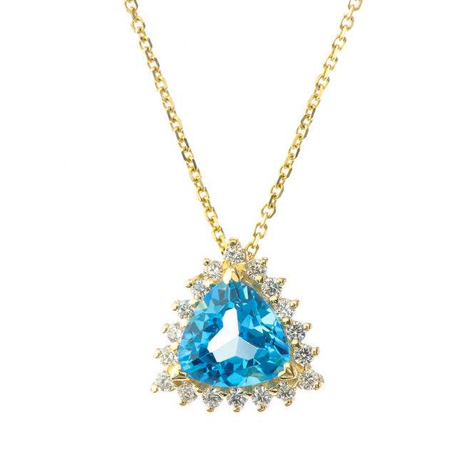 Chic Diamond & Trillion Cut Blue Topaz Pendant Necklace in  14K Yellow Gold