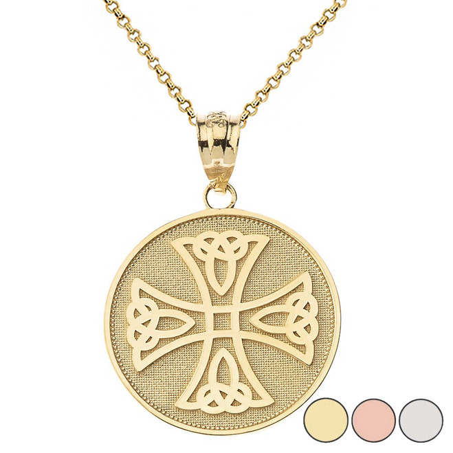 Infinity Knot Celtic Cross Disc Pendant Necklace in Gold (Yellow/Rose/White)