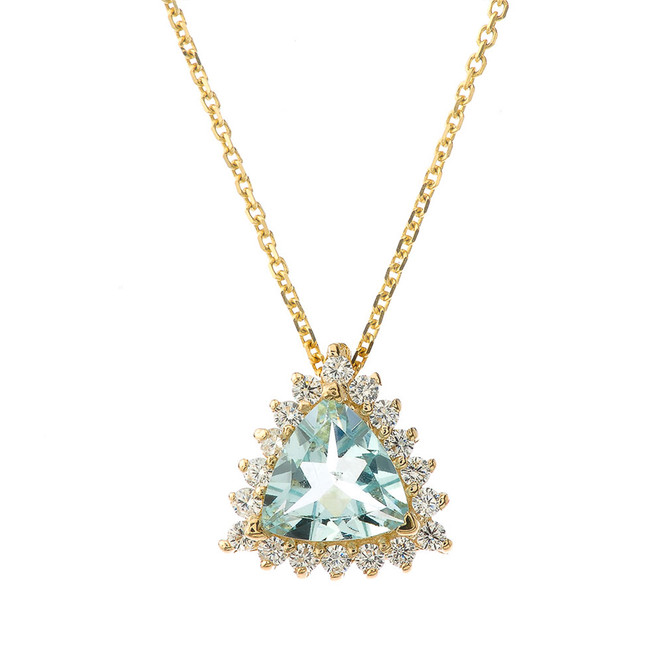 Chic Diamond & Trillion Cut Genuine Aquamarine Pendant Necklace  in 14K Yellow Gold