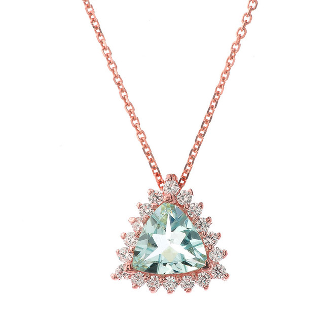 Chic Diamond & Trillion Cut Genuine Aquamarine Pendant Necklace  in 14K Rose Gold