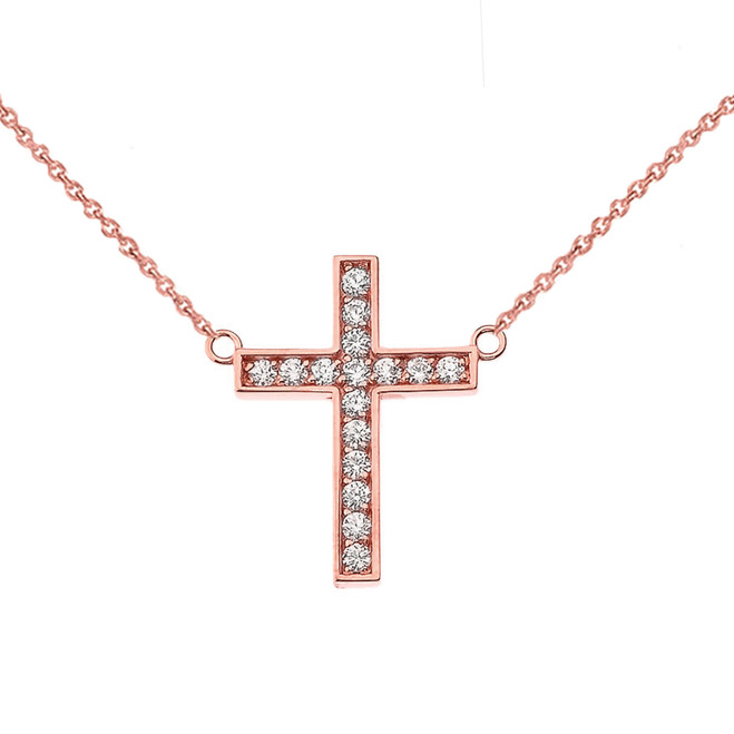 Chic CZ Cross Necklace in 14K Rose Gold