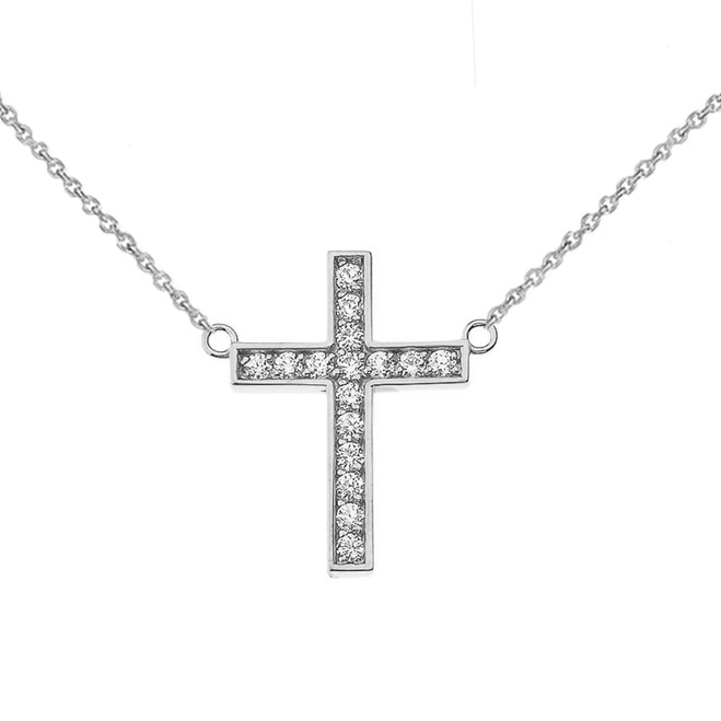 Chic Diamond Cross Necklace in 14K White Gold