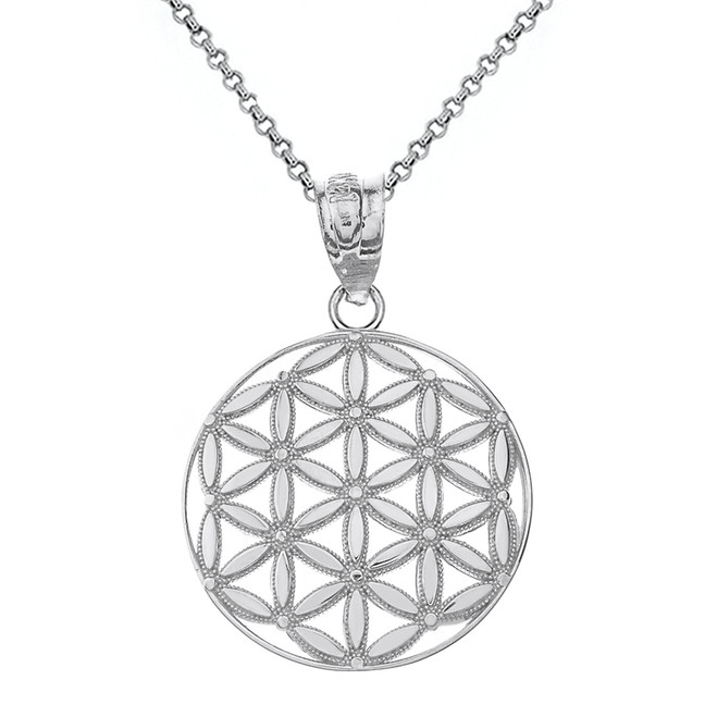 Solid White Gold Flower of Life Sacred Geometry Pendant Necklace