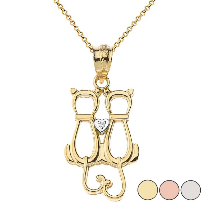 Cats with Heart Solitaire Pendant Necklace in Gold (Yellow/Rose/White)