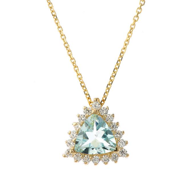 Chic CZ & Trillion Cut Genuine Aquamarine Pendant Necklace  in 14K Yellow Gold