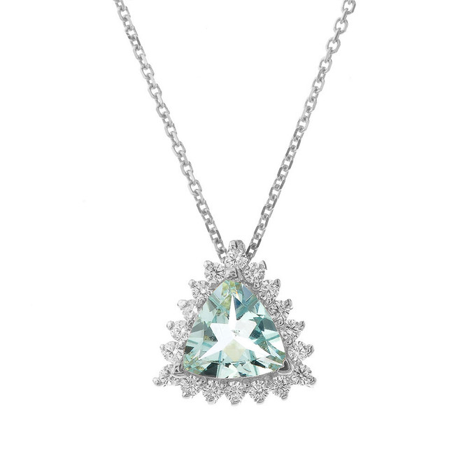 Chic CZ & Trillion Cut Genuine Aquamarine Pendant Necklace  in 14K White Gold