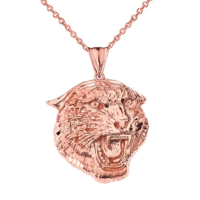 Bold Jaguar Statement Pendant Necklace in Rose Gold (Large)