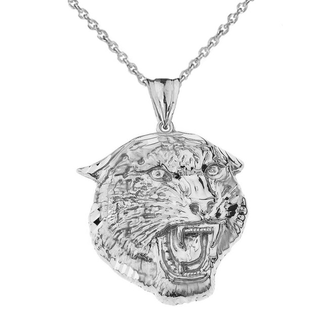 Bold Jaguar Statement Pendant Necklace in White Gold (Large)