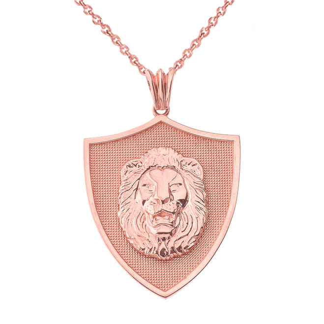 Lions Shield Pendant Necklace in Rose Gold