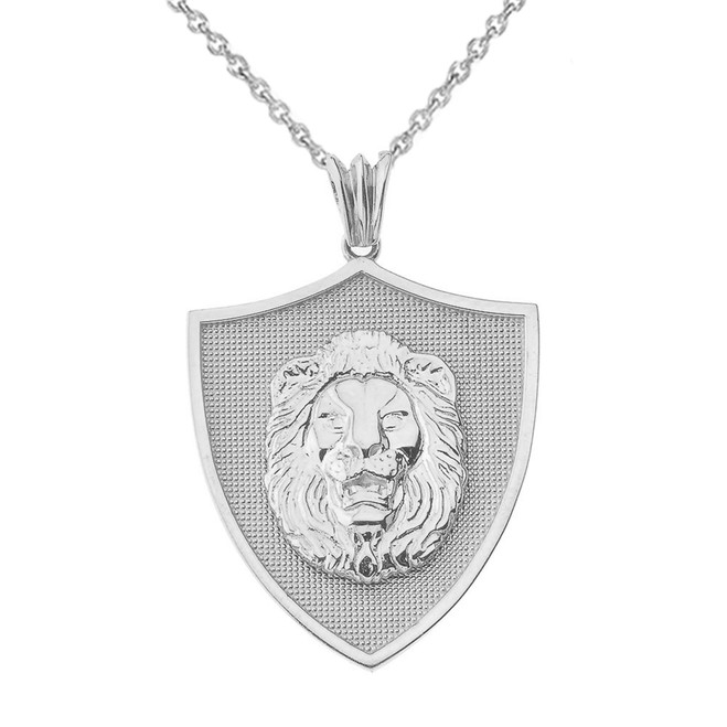 Lions Shield Pendant Necklace in Sterling Silver