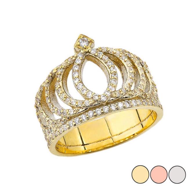 CZ Royal Crown Ring in Gold (Yellow/Rose/White)