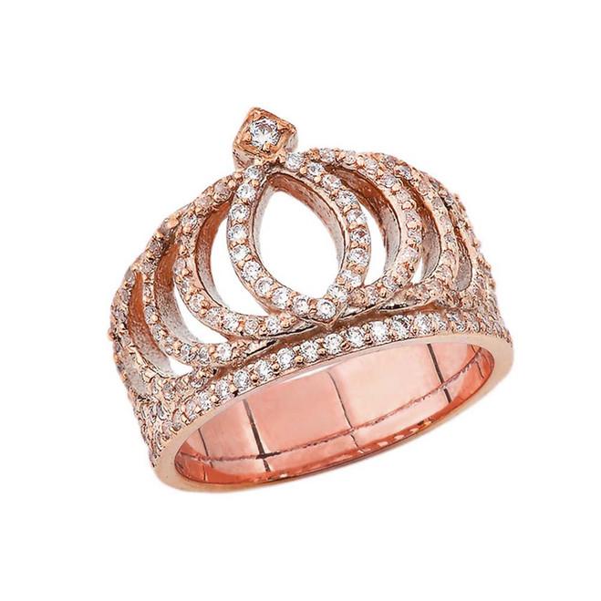 Diamond Royal Crown Ring in Rose Gold
