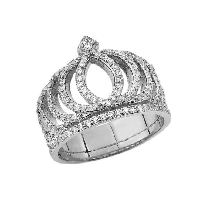 CZ Royal Crown Ring in White Gold
