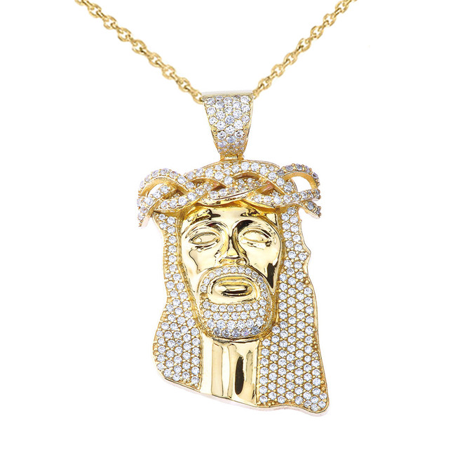 "Cubic Zirconia Jesus Pendant Necklace (1.8"") in Yellow Gold"