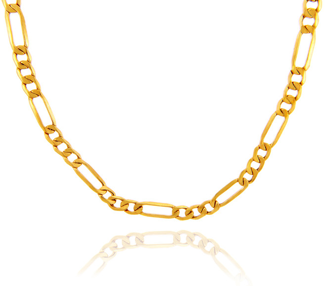 Gold Chains: Hollow Figaro 10K Gold Chain 4.12mm