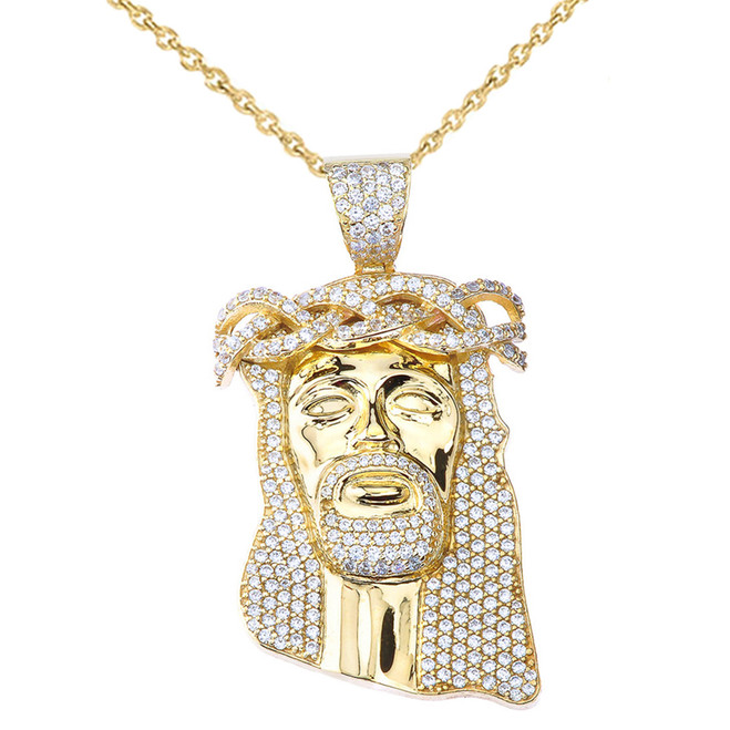 "Cubic Zirconia Jesus Pendant Necklace (2.29"") in Yellow Gold"
