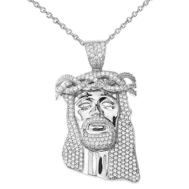 "Diamond Jesus Pendant Necklace (2.29"") in White Gold"