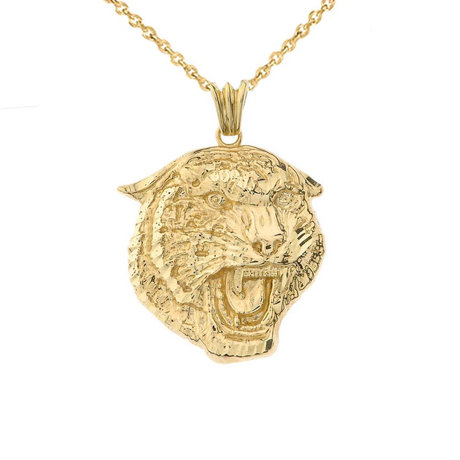 Bold Jaguar Statement Pendant Necklace in Yellow Gold (Medium)