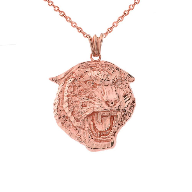 Bold Jaguar Statement Pendant Necklace in Rose Gold (Medium)