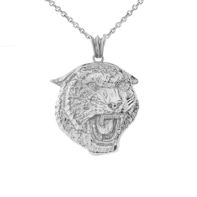 Bold Jaguar Statement Pendant Necklace in White Gold (Medium)