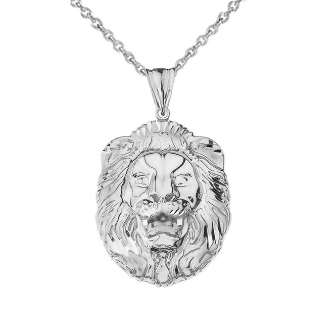 Bold Lion Statement Pendant Necklace in White Gold (Large)