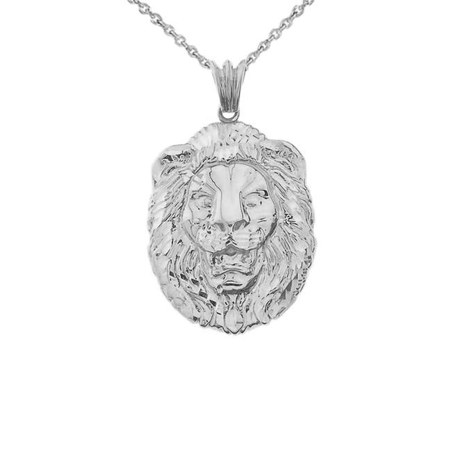 Bold Lion Statement Pendant Necklace in White Gold (Medium)