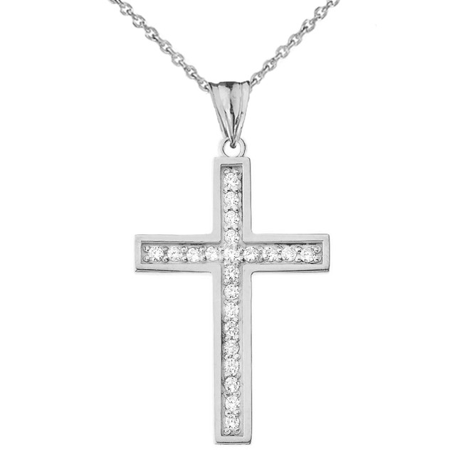 Mod-Chic Diamond Cross Pendant Necklace in White Gold