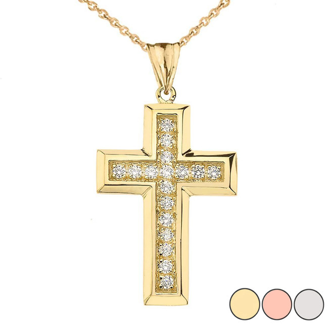 Designer Bold Diamond Cross in Gold (Yellow/Rose/White)
