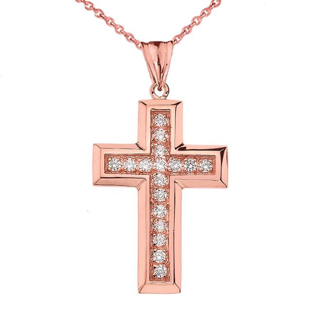 Designer Bold CZ Cross in Rose Gold