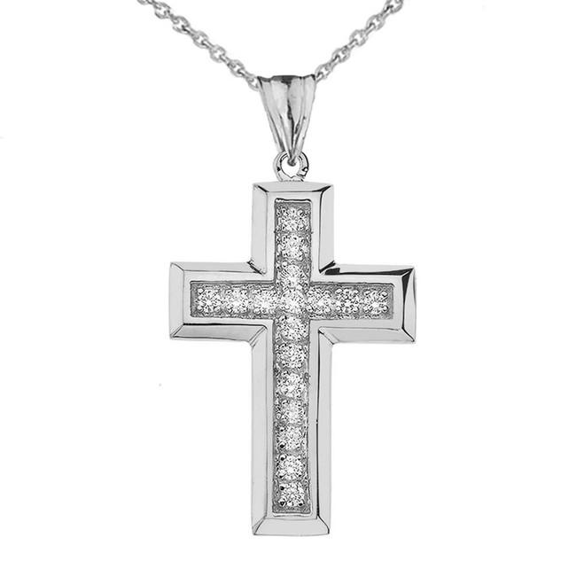 Designer Bold CZ Cross in Sterling Silver