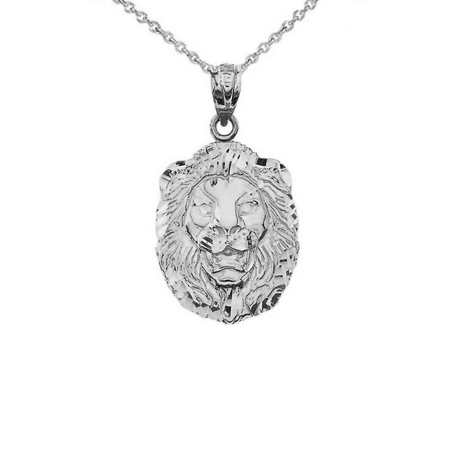 """Bold Lion Statement Pendant Necklace (0.97"""") in White Gold"""