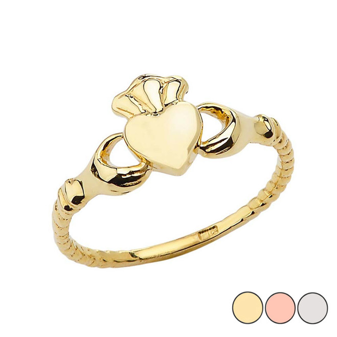 Chic Traditional Irish Claddagh Ring in Gold (Yellow/Rose/White)