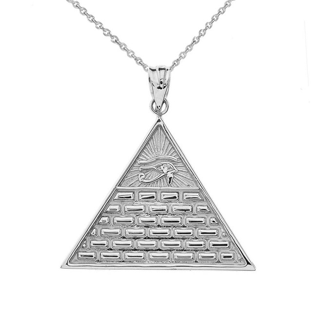 Horus Pyramid Pendant Necklace in White Gold