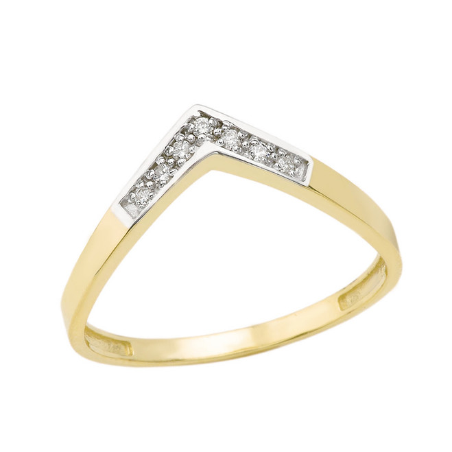 Solid Yellow Gold Diamond V Shape Wishbone Ring