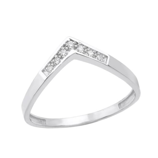 Solid White Gold Diamond V Shape Wishbone Ring